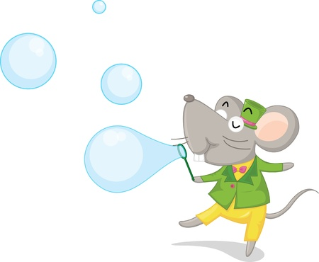 blowing bubbles: illustration of mouse blowing water bubbles