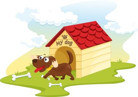 dog eating: illustration of doghouse on white