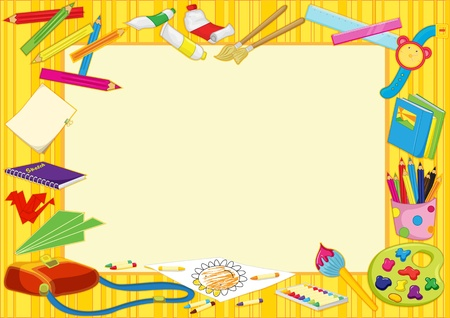 pencil and paper: illustration of colourful photo frame