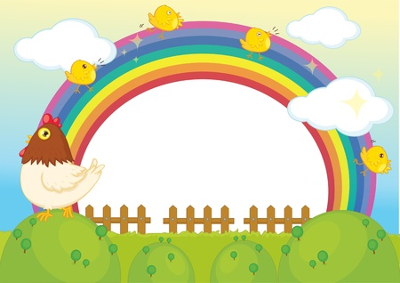 rainy sky: illustration of hena with chicken on rainbow background