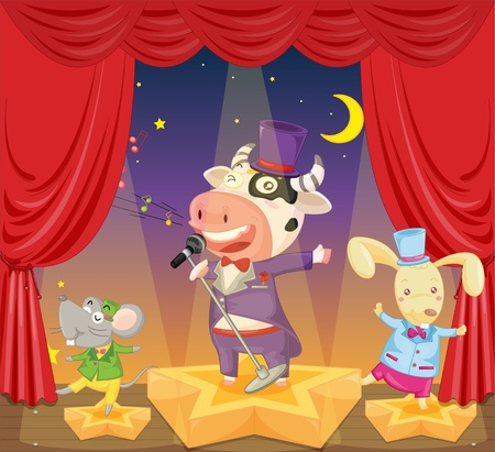 illustration of a singing cow, mouse and rabbit on stage Stock Vector - 13190512