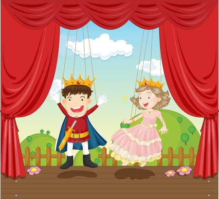 puppet show: illustration of boy and girl as king and queen