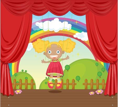 arcoiris caricatura: Ilustración de una niña de títeres en el escenario