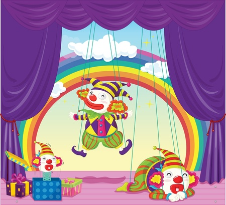 puppets: illustration of joker puppets dancing on stage Illustration