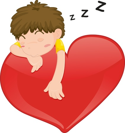illustration of a sleeping boy on heart Vector