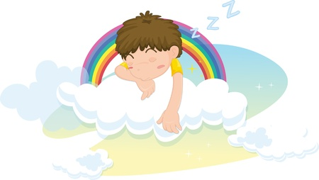 illustration of boy sleeping on clouds Vector