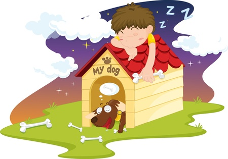 illustration of sleeping boy on dog house