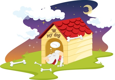 illustration of doghouse on white Vector