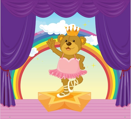 Illustration of dancing bear on stage Vector
