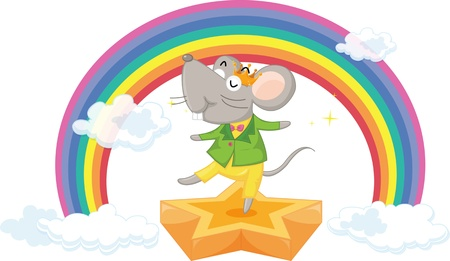 Illustration of dancing mouse on the background of rainbow Vector