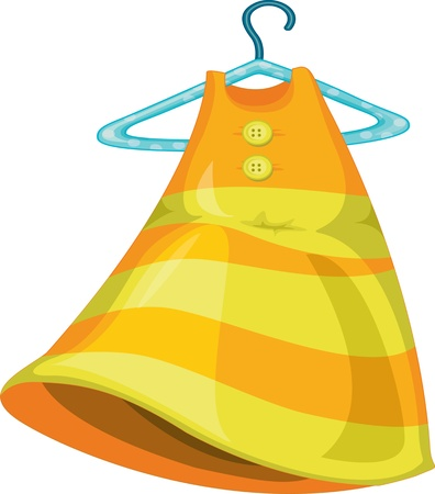 frock: illustration of a girl dress with hanger on white