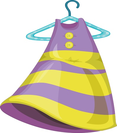 clothes hangers: illustration of a girl dress with hanger on white