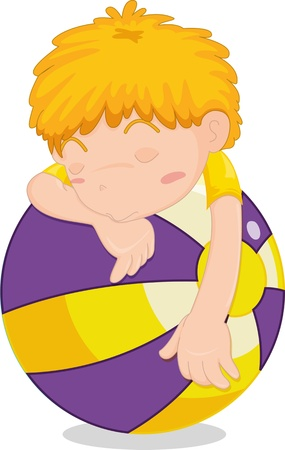 illustration of a sleeping boy on ball Illustration