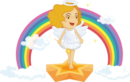 illustration of fairy on rainbow background Stock Vector - 13190410