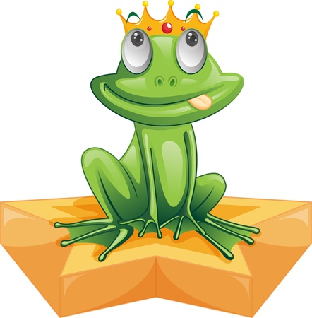 yellow crown: illustration of frog sitting on star