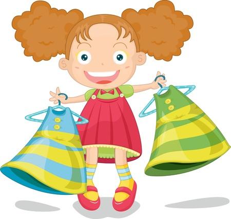 illustration of girl holding dresses in hand  Illustration