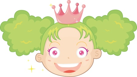vibrance: illustration of girl with green hair Illustration
