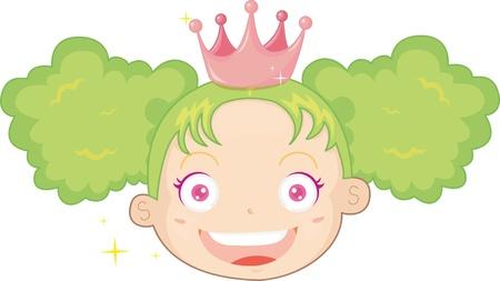 illustration of girl with green hair Illustration