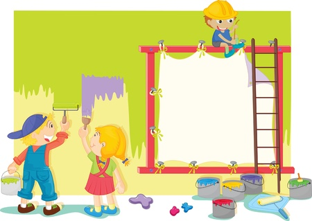 window curtains: Illustration of kids painting the wall Illustration