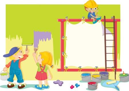 chicos pintando: Ilustraci�n de los ni�os pintando la pared