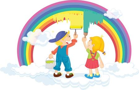 chicos pintando: Ilustraci�n de los ni�os pintando arco iris en blanco