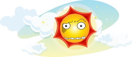 angry sky: Illustration of sun on white