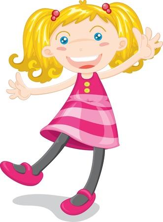pink dress: Illustration of girl on white Illustration