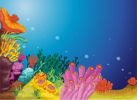 水の下の海の草のイラスト  イラスト・ベクター素材