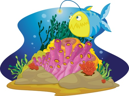 illustration of sea grass under water Vector