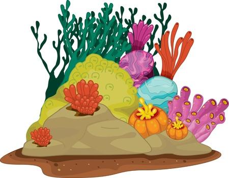 illustratie van zeegras onder water