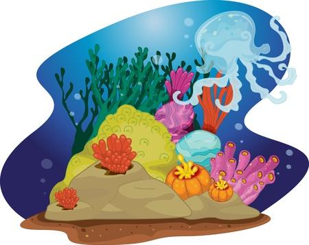 sea grass: illustration of sea grass under water Illustration