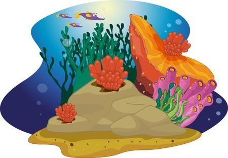illustration of sea grass under water Stock Vector - 13190534