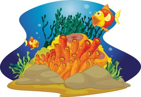 aquatic plant: two gaping fish Illustration