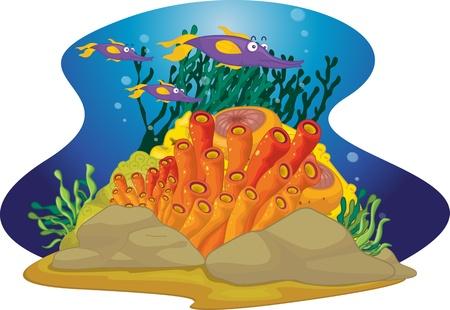 Log nosed purple fish swim by Stock Vector - 13190539