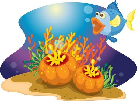 sealife: Fisch mit offenem Mund in der N�he von Meer Pflanzen Illustration