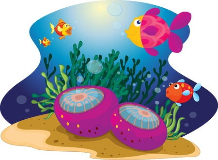 A collection of a fish around sea urchin Stock Vector - 13190494