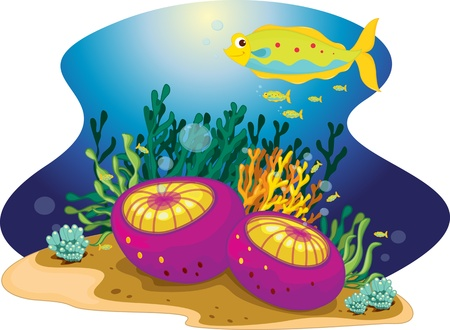 A strangely frilly fish and its young Stock Vector - 13190540