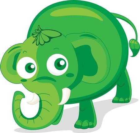 one animal: Illustration of single elephant on white