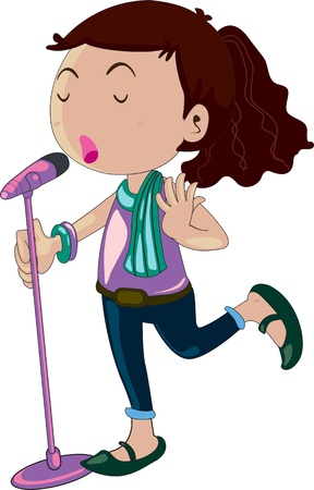 song: Illustration of girl singing on a mic Illustration