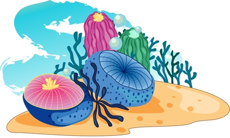 aquatic plants: Sea-plants accompanied by bubbles blow in a strong current Illustration