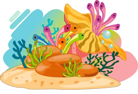 Colourful ocean plants and bubbles Vector