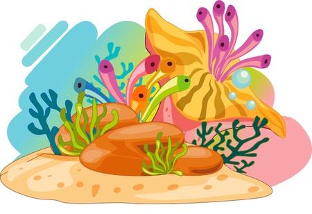 ocean floor: Colourful ocean plants and bubbles