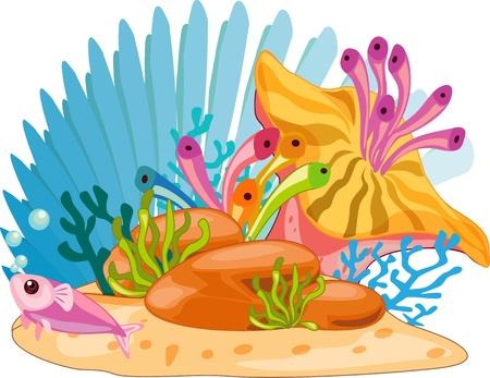 Colourful Ocean plants with fish Vector