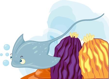 under water grass: illustration of sea grass under water Illustration