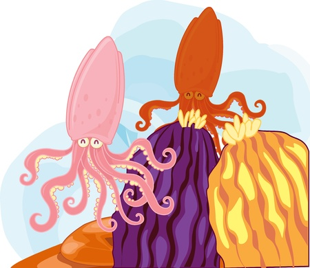 Two happy squid swimming past rocks Vector