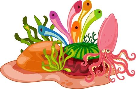 calamar: Squid cheeful flotando por el océano de colores de las plantas