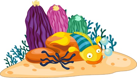 sea bed: Blue and yellow stiped fish with plants Illustration