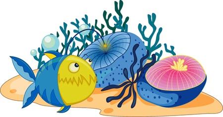 coral fish: Anglerfish swimming past aquatic plants Illustration