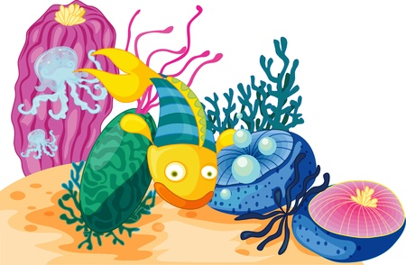 Yellow and green fish with two jellyfish Vector