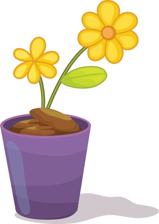 Yellow flowers in purple flower pot Vector